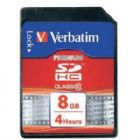 Verbatim SDHC Media Memory Card SD 2.0 FAT32 Class 10 Read 10MB/s Write 10MB/s 8GB Ref 43961